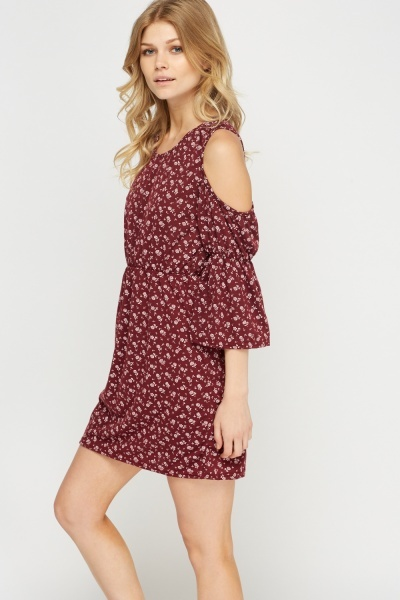 Floral Cut Out Shoulder Dress