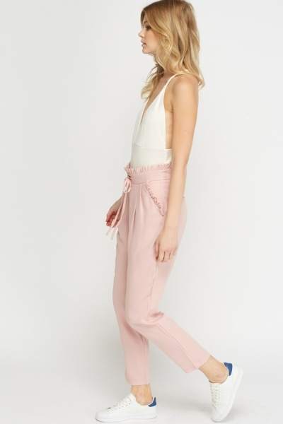 Frilled Waist Cropped Trousers