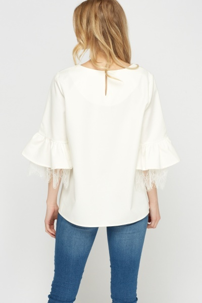 Lace Insert Flare Sleeve Top