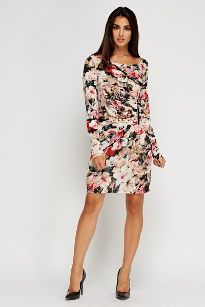 Ruched Zipped Printed Dress