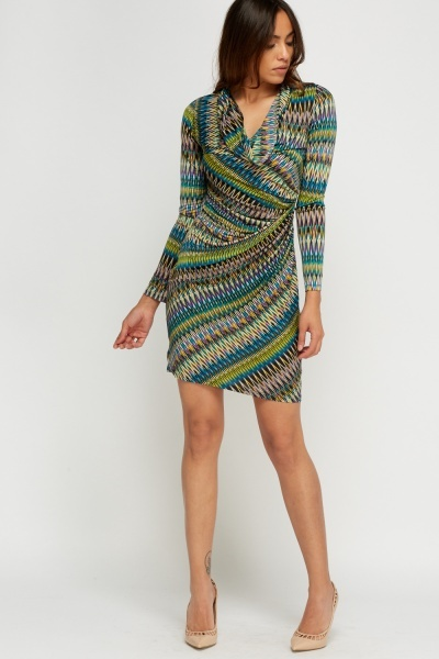 Cowl Neck Zig Zag Printed Ruched Dress