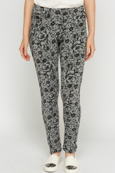 Floral Grey Printed Leggings