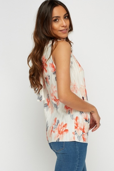 Floral Pleated High Neck Top