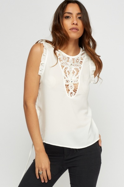 Insert Embellished Crochet Sleeveless Top
