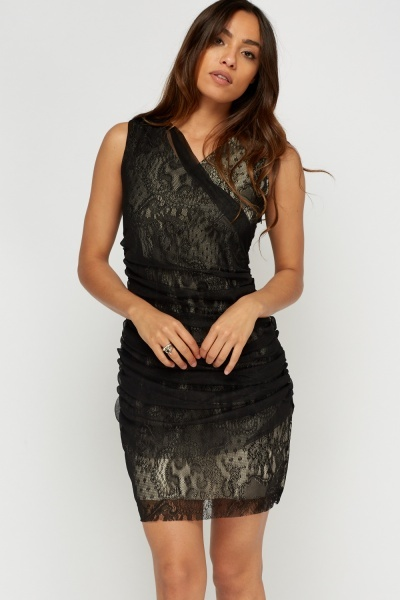 Mesh Overlay Ruched Dress