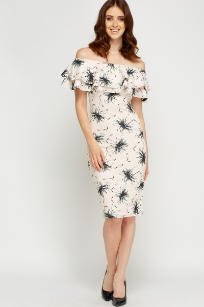 Off Shoulder Flower Printed Bodycon Dress