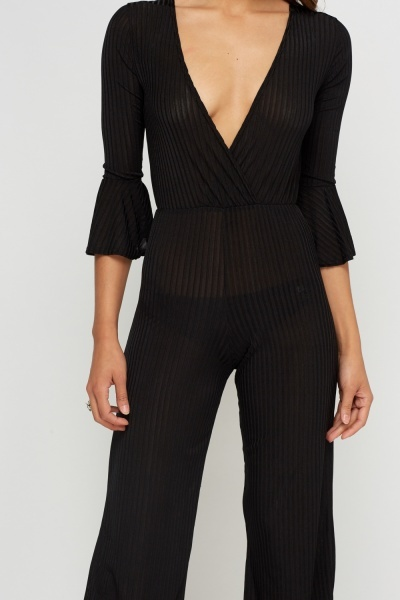 Ribbed Plunge Wide Leg Jumpsuit