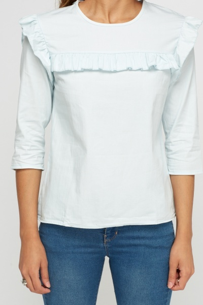 Ruffle Trim Light Blue Top