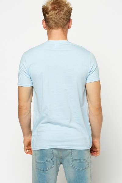 Sky Blue Printed T-Shirt