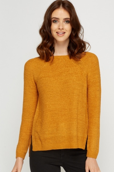 Tie Up Back Knitted Mustard Jumper