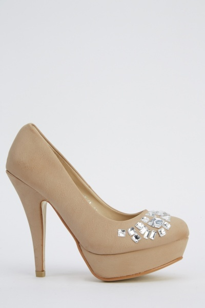 Diamante Embellished Platformed Heels