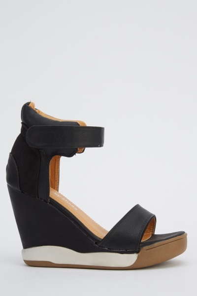 Faux Leather Ankle Strap Wedged Sandals