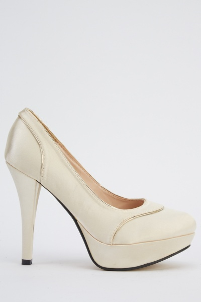 Insert Metallic Trim Sateen Heels
