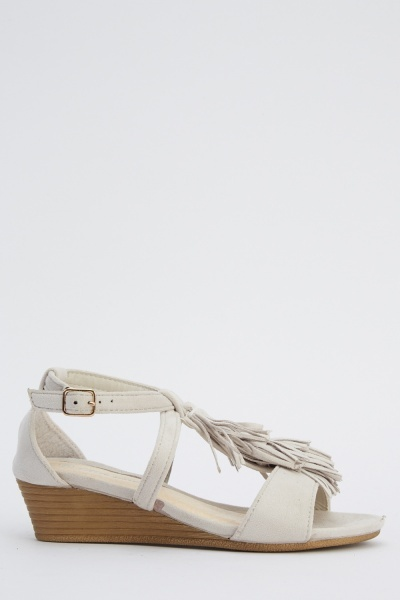 Tassel Front Wedged Sandals