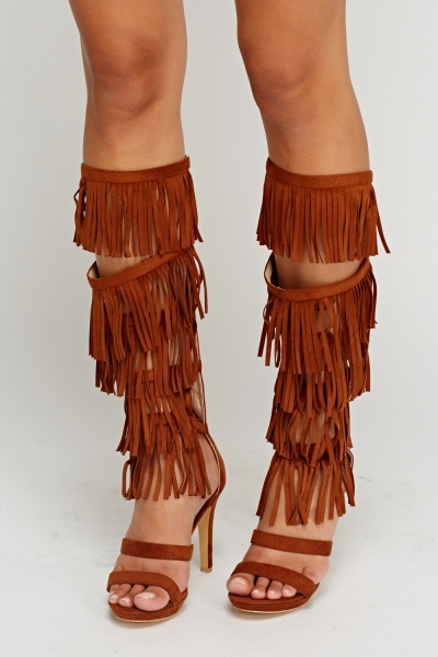 Tasseled Suedette Camel High Knee Heels
