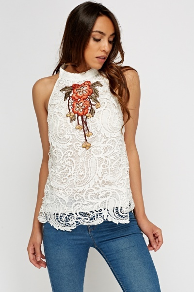 Crochet Applique Sleeveless Top
