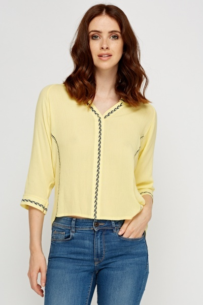 Dip Hem Stitched Trim Top