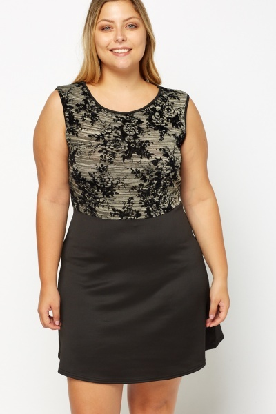 Embossed Contrast Bodice Dress