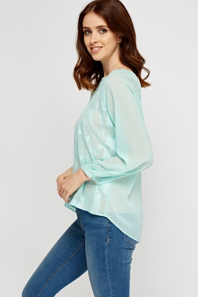 Embossed Sheer Dip Hem Top