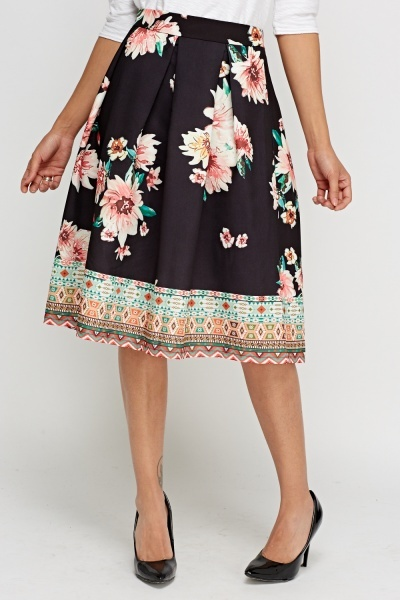 Floral Mixed Print Box Pleat Skirt
