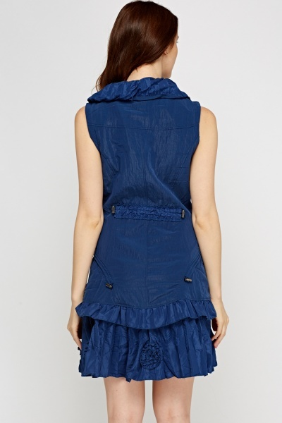 Frilled Zip Sleeveless Dress