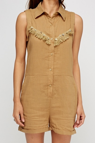 Fringed Button Up Playsuit