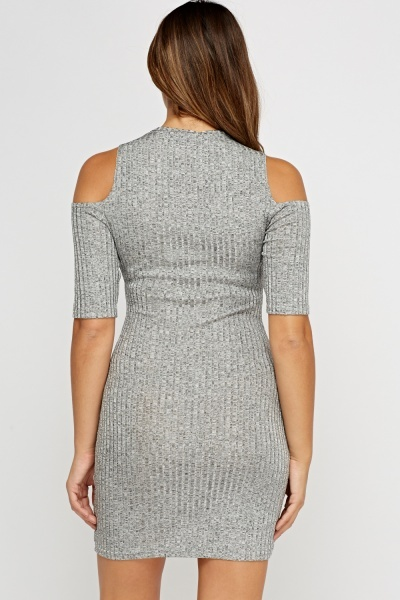 Grey Ribbed Cut Out Shoulder Dress