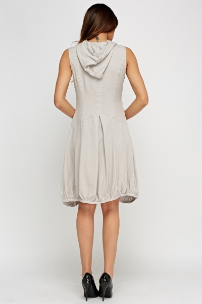 Hooded Ruched Hem Basic Dress