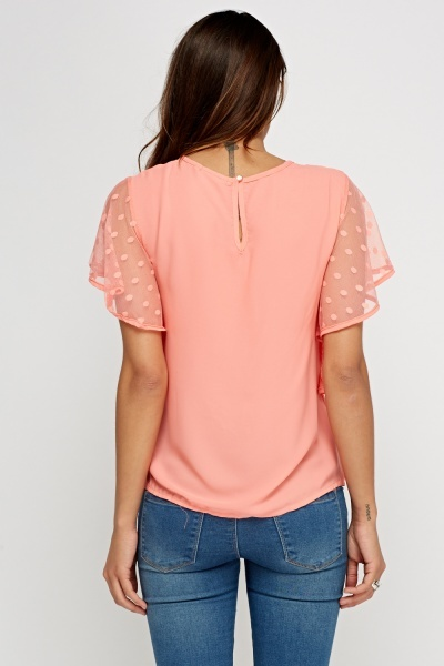 Mesh Frill Sleeve Embroidered Top