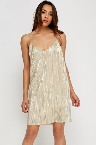 Metallic Pleated Slip On Dress