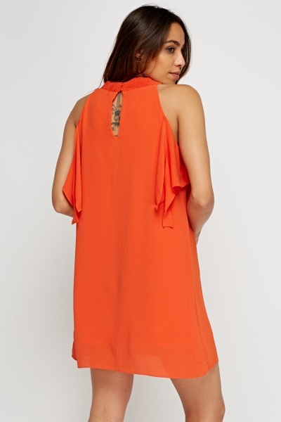 Orange Textured Tie Up Sleeve Dress