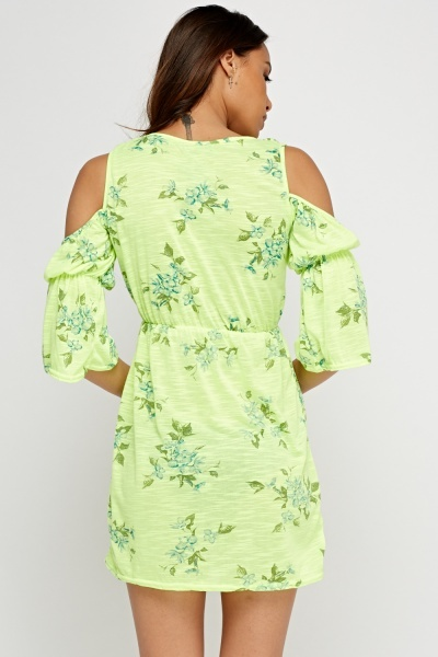 Printed Neon Cut Out Shoulder Dress