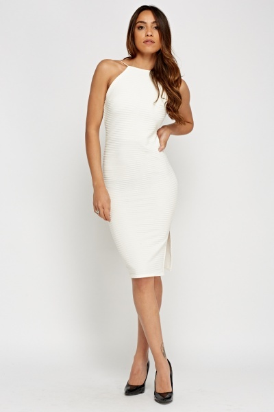 Ribbed Open Back Bodycon Dress