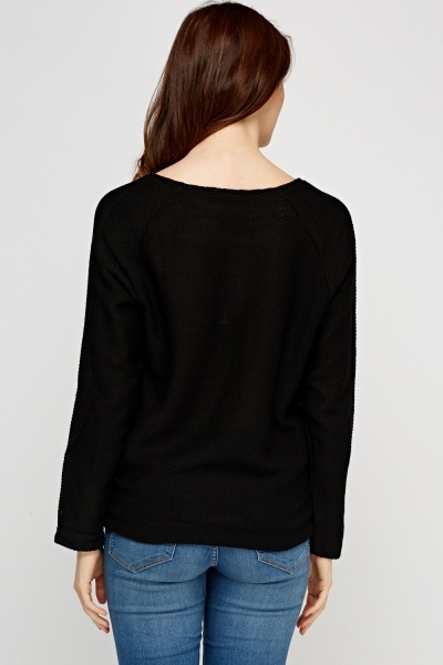 Textured Knit Black Jumper