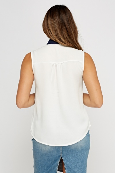 Applique Contrast Trim Top