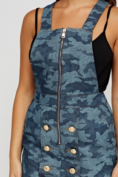 Blue Button Detailed Dungarees Dress