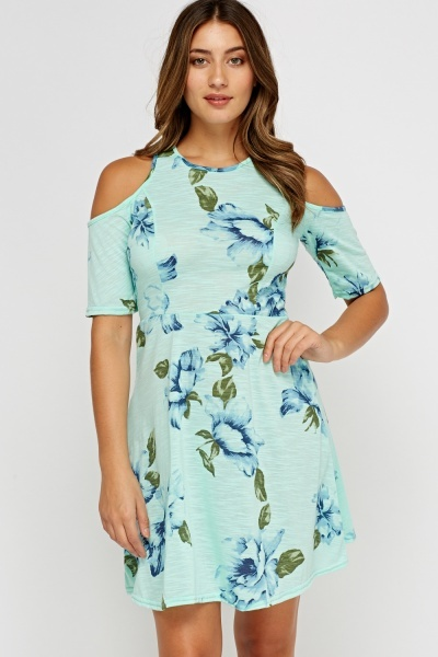 Cut Out Shoulder Printed Swing Dress