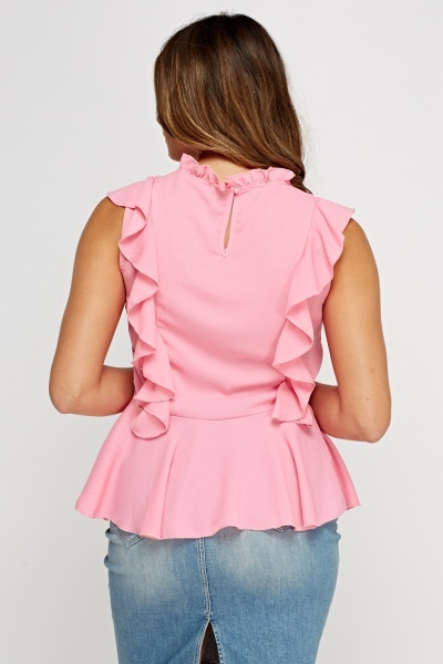 Embroidered Mesh Insert Frilled Top
