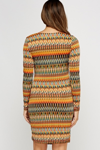Geo Ruched Wrap Printed Dress