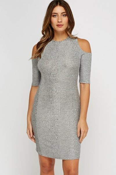 Grey Cut Out Shoulder Ribbed Dress