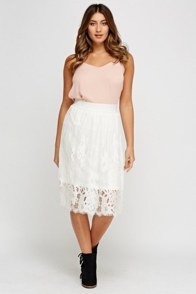 Lace Overlay White Skirt