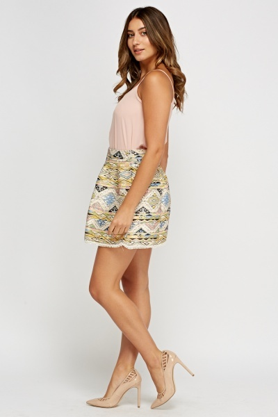 Metallic Insert Printed Contrast Trim Skirt