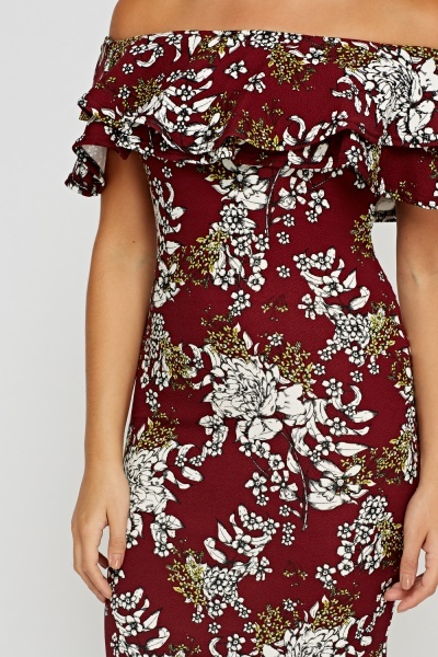 Printed Flared Off Shoulder Bodycon Dress