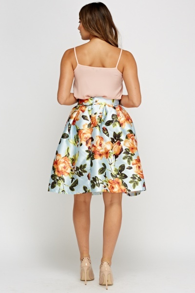 Sateen Printed Box Pleat Skirt