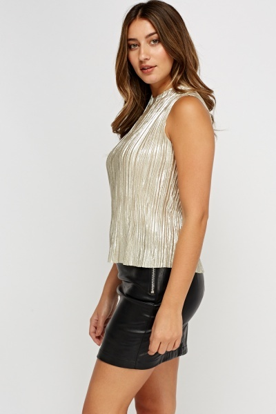 Sleeveless Pleated Metallic Top