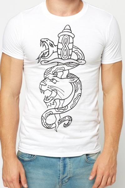 Snake Mixed Tattoo Print T-Shirt