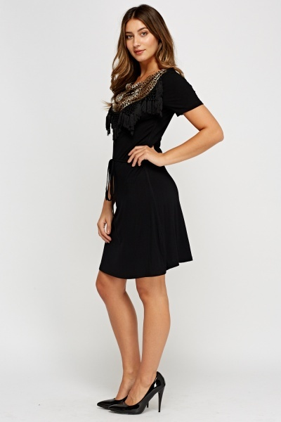 Tassel Cowl Neck Swing Dress