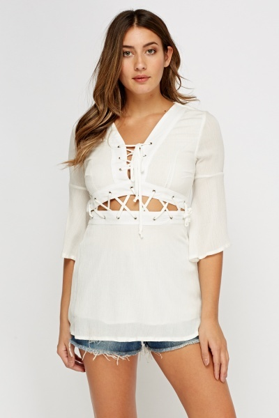 Tie Up Flare Sleeve Top