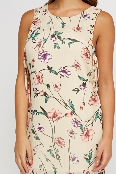 Tie Up Sleeve Floral Dress