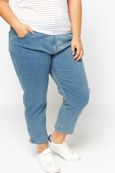 Zipped Hem Denim Jeans